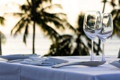 Lijst die voor diner wordt gediend. stock afbeelding