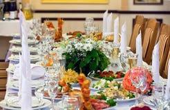 Lijst die voor een van het gebeurtenispartij of huwelijk ontvangst wordt geplaatst Royalty-vrije Stock Afbeelding