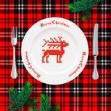 Lijst die voor Kerstmisdiner plaatsen Royalty-vrije Stock Afbeelding