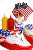 Lijst die voor vierde van de picknick van Juli plaatst Royalty-vrije Stock Fotografie