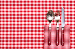 Lijst in een restaurant met bestek in rood Stock Afbeelding