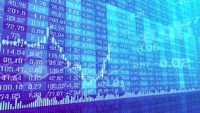Lijst en grafiek van de geanimeerde achtergrond van de beursmarkt indexen stock illustratie