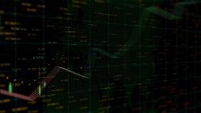 Lijst en grafiek van van de de uitwisselingsmarkt van de voorraadgrafiek de achtergrond van de de indexenanimatie stock illustratie