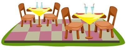 Lijst en stoelen stock illustratie