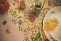 Lijst met elementen voor het koken Eigengemaakt voedsel royalty-vrije stock fotografie