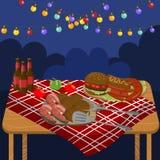 Lijst met geroosterde rundvleeslapjes vlees, worsten, zalm, burgers, de partij van de nachtbarbecue met de feestelijke vector van vector illustratie
