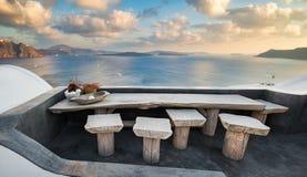 Lijst met mening in Santorini, Griekenland stock afbeelding