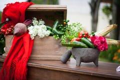 Lijst met traditionele Mexicaanse groenten en molcajete Royalty-vrije Stock Fotografie