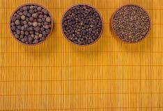 Lijst van bamboe kleurrijke kruiden dat wordt gemaakt Stock Foto's