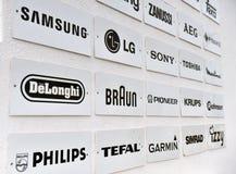 Lijst van de producentenmerken en bedrijven van huistoestellen royalty-vrije stock afbeelding