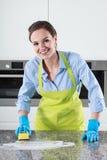 Lijst van de vrouwen de schoonmakende keuken stock fotografie