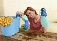 Lijst van de vrouwen de schoonmakende woonkamer met doek en nevelfles die in spanning wordt vermoeid Royalty-vrije Stock Foto's