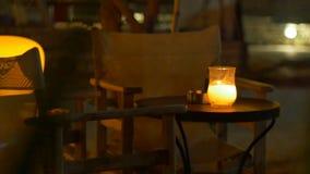 Lijst van het nacht de Openluchtrestaurant stock footage