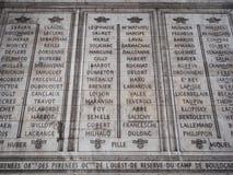 Lijst van militairen dood in oorlog die de binnenmuren van tri behandelen Royalty-vrije Stock Foto's