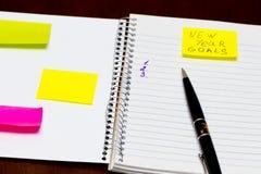 Lijst van Nieuwe conceptuele jaarresolutie Stock Foto
