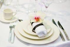 Lijst voor een van het gebeurtenispartij of huwelijk ontvangst wordt geplaatst die Royalty-vrije Stock Foto