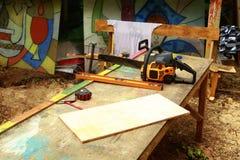 Lijst voor het werken met hout Stock Foto's