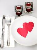 Lijst voor romantische maaltijd Stock Foto's