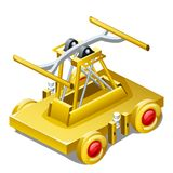 Lijstherinnering in de vorm van draisine of handcar gemaakt die van goud op witte close-up wordt geïsoleerd als achtergrond Vecto stock illustratie