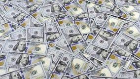 Lijsthoogtepunt van geld in honderd dollarsbankbiljetten, camera het volgen stock footage