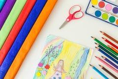 Lijsthoogtepunt van schoolbehoeften Royalty-vrije Stock Afbeeldingen