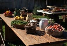 Lijsthoogtepunt van verse tuin - verscheidenheidsgroenten Royalty-vrije Stock Foto's