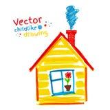 Lik ett barn teckning av huset Royaltyfri Bild