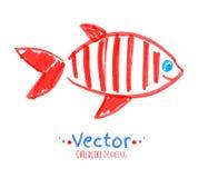 Lik ett barn teckning för filtpenna av fisken Arkivfoton