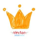 Lik ett barn teckning för filtpenna av kronan Arkivbilder