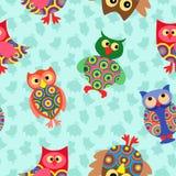 Likable colourful owl seamless pattern Stock Photos