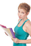 Likable student with textbooks in hands Stock Images