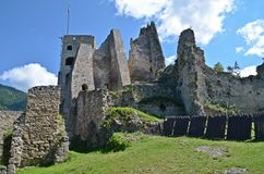 Likava castle ruins. Ruins of Likava castle in central Slovakia Stock Image