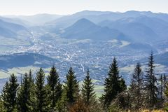View of the town of Ruzomberok situated in the valley, in the historical Liptov region stock images