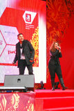 Likbez and Liza Lukashina perform on stage Stock Photography