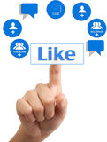 Like. Woman hand pressing Like button Royalty Free Stock Images