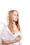 Like angel. Shot of a pretty model with long beauy hair stock image