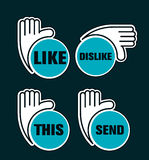 Like Background - hand. Like Background express like comments on social network media Stock Photos
