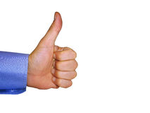 Like - Big thumbs up. A big thumbs-up on white background royalty free stock photography