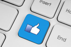 Like blue button on keyboard Stock Photography