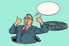 Like businessman. man in the sewers. Pop art retro vector illustration kitsch vintage royalty free illustration
