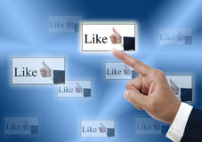 Like button. Art work for like button from real hand nice background stock photo