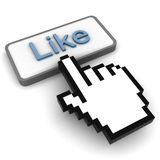 Like Button. 3d like button with hand cursor royalty free illustration