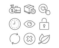 Like button, Close button and Clock icons. Eye, Full rotation and Salary signs. Set of Like button, Close button and Clock icons. Eye, Full rotation and Salary Royalty Free Stock Photography