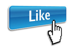 Like button. And hand cursor Stock Photography