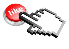 Like button with hand cursor Royalty Free Stock Photo
