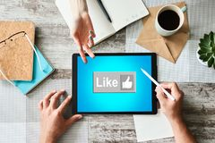 Like button on screen. SMM, Social media marketing concept. Like button on screen. SMM, Social media marketing concept stock photography