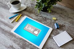 Like button on screen. SMM, Social media marketing concept. Like button on screen. SMM, Social media marketing concept stock photo