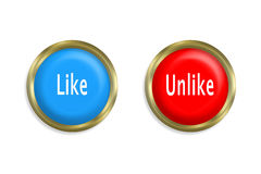 Like button and unlike red Royalty Free Stock Photos