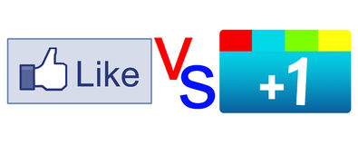 Like button vs plus 1 button Royalty Free Stock Photos