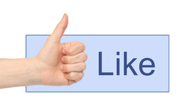Like button with woman hand Royalty Free Stock Image